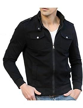 Hombre Slim Chaquetas Outwears Color Sólido Coat Top Mangas Largas Abrigo Jacket