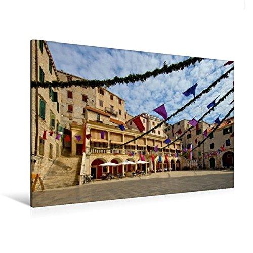 Preisvergleich Produktbild Premium Textil-Leinwand 120 cm x 80 cm quer, Rathaus in Šibenik | Wandbild, Bild auf Keilrahmen, Fertigbild auf echter Leinwand, Leinwanddruck: Unterwegs in Mitteldalmatien (CALVENDO Orte)