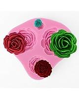 *Versand aus Deutschland* 4-Loch 3D Rose Silikon Ausstechform Marzipan Fondant Torten Hochzeit