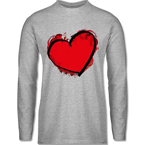 Shirtracer Love - Herz Gemalt - Herren Langarmshirt Grau Meliert