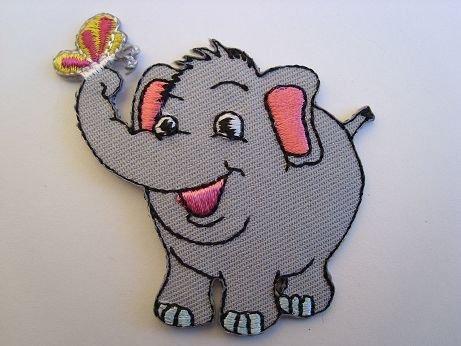 Afrika-patch (Elefant 5,7 cm * 5,9 cm Bügelbild Tier Elephant Zoo Zootier Afrika Aufnäher Applikation Patch)