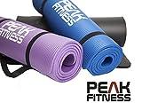 Peak Fitness - PREMIUM Yogamatte, Turnmatte - Extra dichter 10mm bequemer Schaumgummi, Tragriemen INKLUSIV - Ideal als Pilates Matte oder für Bauchmuskeltraining