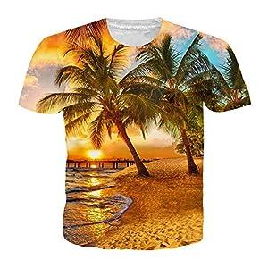 ZzSTX Sommer Kokospalme 3D Gedruckt T-Shirt Frauen Männer Nightfall T-Shirt