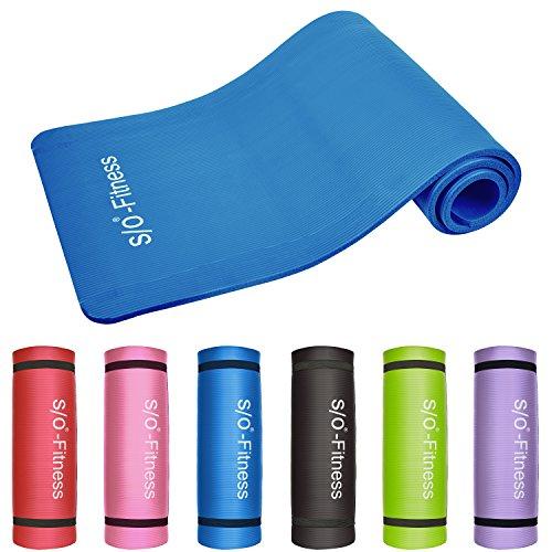 S/O® Yogamatte 6 Farben Yogamatten 190 x 60x 1,5cm Yoga Joga Matten Gymnastikmatte schadstoffgeprüft Pilatismatte Pilatis Matte jogamatte JOGAMATTEN Fittnessmatte Jogamatte Isomatte Isomatten , Farbe:blau
