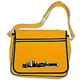 plot4u Freizeittasche Mönchengladbach City Skyline Schultasche Umhängetasche Bag Base® BagBase Retro Messenger 40x30x10cm goldgelb/farbiger Aufdruck