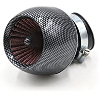 sourcingmap® La fibra de carbono patrón interno de 48mm Diámetro del filtro de entrada aire ajustable Pieza Recambio para de Motocicleta Motos Accesorios