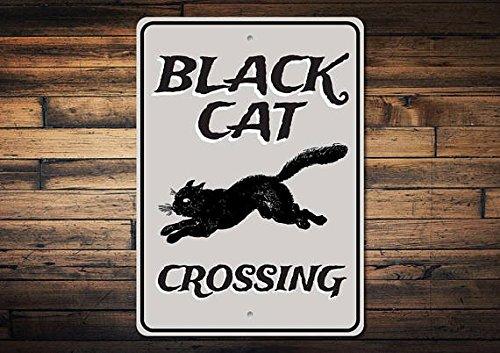 ign, Schwarz Cat Decor, Schwarz, Halloween Katze Schild, Cat Lover Geschenk, Katze Schild Bad Luck, Qualität Metall 20,3x 30,5cm Schild ()