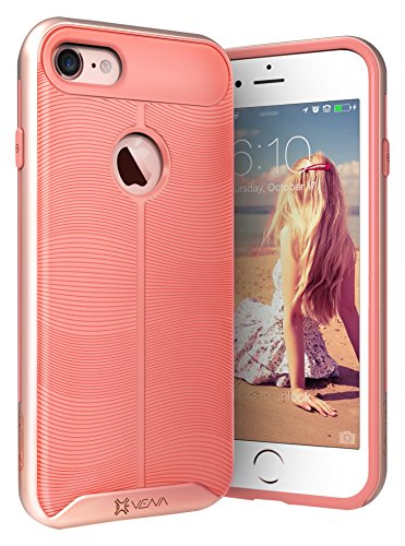 "iPhone 7 hülle, Vena [vAllure] Welle Textur [Stoßstange Rahmen][CornerGuard ShockProof | Strong Grip] Hybride Slim-Fit Case Cover für Apple iPhone 7 (4.7"") - Gold / Blau Rose Gold / Rosa"