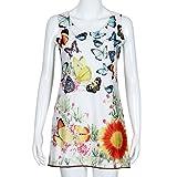 Rcool Frauen Sommerkleid ärmellose gedruckten Strand Kleid Schmetterling Boho-kurz O-Ausschnitt Slim (M, Weiß)