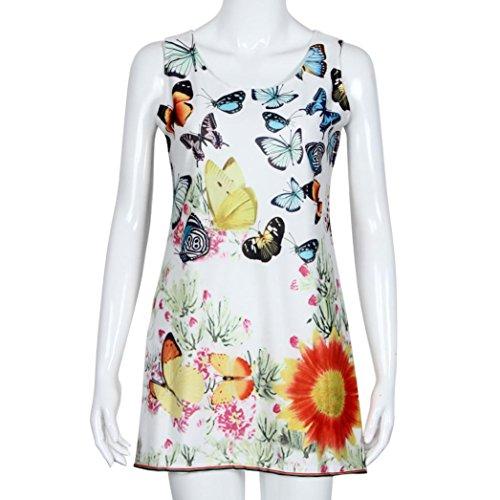Rcool Frauen Sommerkleid ärmellose gedruckten Strand Kleid Schmetterling Boho-kurz O-Ausschnitt Slim (S, (Zara Kostüm Slim)