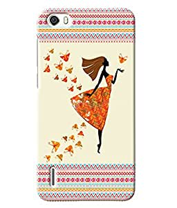 Fuson Butterfly Pattern Girl Back Case Cover for HUAWEI HONOR 6 - D3902