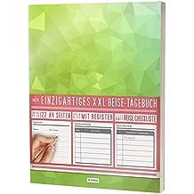"""Mein Einzigartiges XXL Reisetagebuch: 122 Seiten, Register, Kontakte / Neue Auflage mit Reise Checkliste / PR401 """"Frisches Grün"""" / DIN A4 Softcover"""