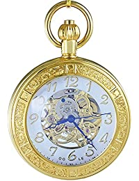 Ogle impermeable oro lupa blanco colgante collar cadena Fob Self bobinado automático bolsita para trinchar esqueleto mecánico reloj de bolsillo