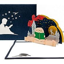 "3D Pop Up Karte ""Gute Nacht Geschichte"" - 3D Grußkarte, Büchergutschein, Geschenk Einschulung & Leseabend, Gutschein Geburtstagskarte 3D, Geschenkgutschein Buch"