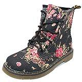 Uirend Schuhe Damen Stiefel Stiefeletten - Retro Wadenlang Blumen Drucken Martin Schnürschuh Schuh Kampf Knöchel Halbschuhe Flach