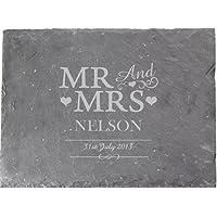 Personalizable con texto Mr & Mrs pizarra tabla de quesos–boda/aniversario regalo por el mágico tienda de regalos (tmgs)