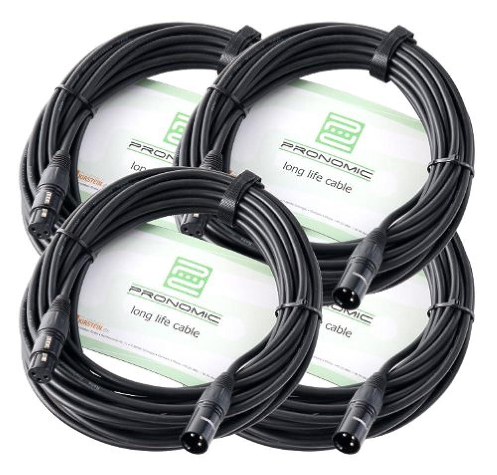 4er Set Pronomic XFXM-10 Mikrofonkabel (10m Länge, XLR female 3-pol -> XLR male 3-pol, Stecker handgelötet, säure- und ölfest, Spannzangen-Zugentlastung) schwarz