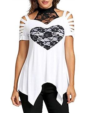 Camisas de mujer, Dragon868 Más reciente de la moda las mujeres de dos tonos trituración corte T-shirt amor ropa...