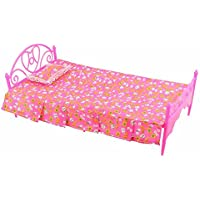 VANKER Kids Doll Accessories Bedroom Furniture Lovely Bed Dollhouse Toy Set (Pink)