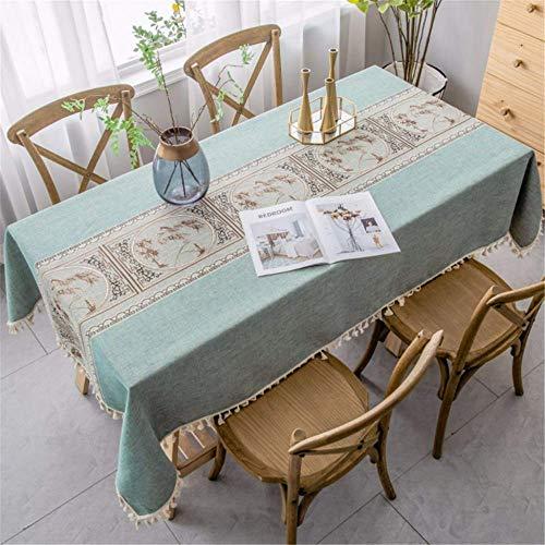 SONGHJ Einfache Baumwolle Leinen wasserdicht dekorative Quaste Tischdecke rechteckige Esstisch Abdeckung Home Geburtstagsparty Halloween Tischdecke A 140 × 180 cm -