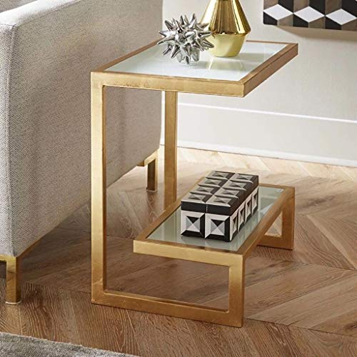 2 Tier Glas Beistelltisch Gold Glas Büro Tisch Metall Glas Konstruktion Beistelltisch Schlafzimmer Lampe Tisch Beistelltisch Wohnzimmer Akzent Tisch Rechteck Sofa Tisch -
