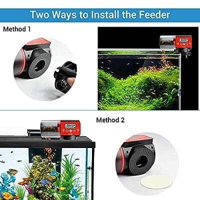 Qweidown Automatischer Fischfutterautomat,Fischfutterautomat Timer für Aquarium,Digitaler Automatischer Fischfutterautomat,Aquarium Feeder mit LCD Fischzufuhrr für