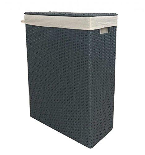 Nischenwäschekorb grau aus Kunststoff-Geflecht mit waschbarem Stoffeinsatz, Größe:Größe 2