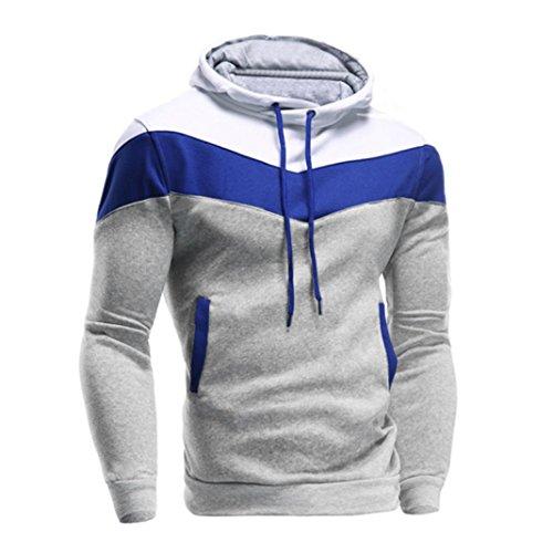 Sannysis Männer Retro Langarm Hoodie Mit Kapuze Sweatshirt Tops Jacke Mantel Outwear (XL, Grau) (Mens Wolle Anzug Grau)