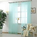UniEco 2 Stück Küche Fenster Gaze Schal Transparent Vorhang mit Haken Gardinen Wohnzimmer,130x220cm,Grün