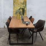 Industrie Esstisch WOODY 240 x 90 cm Esszimmertisch Massivholz Dinnertisch Metall schwarz