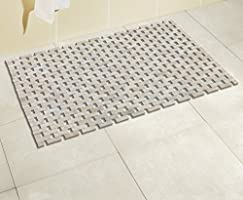 Bath mat bamboo, white