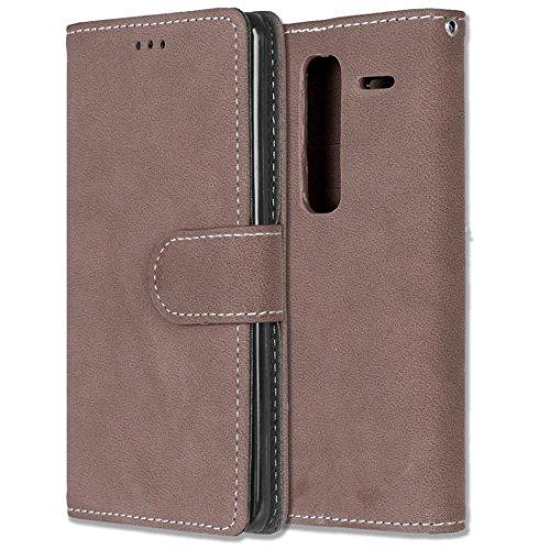 LG Zero / Class / H740 Hülle, Chreey Matt Leder Tasche Retro Handyhülle Magnet Flip Case mit Kartenfach Geldbörse Schutzhülle Etui [Braun]
