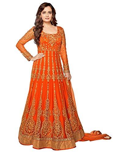 Jesti Designer Women's Net Dress Material (Orange,Free Size, Semi-Stitched)
