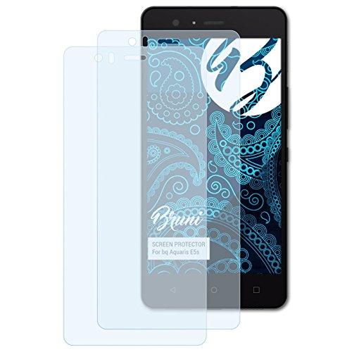 Bruni Schutzfolie kompatibel mit bq Aquaris E5s Folie, glasklare Bildschirmschutzfolie (2X)