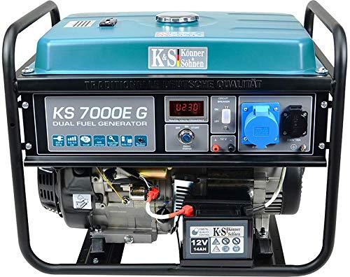 7000E G Benzin-LPG Hybrid Stromerzeuger, 4-Takt, Kupfer, 5500 Watt, 1x16A, 1x32A (230V), Generator, E-Start, Automatischer Spannungsregler, Anzeige, für Haus, Garage oder Werkstatt ()