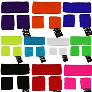SWEATBANDS SWEAT BAND SET Terry Cloth Gym - 1 x Headband - 2 x Wristbands in Many Colours!