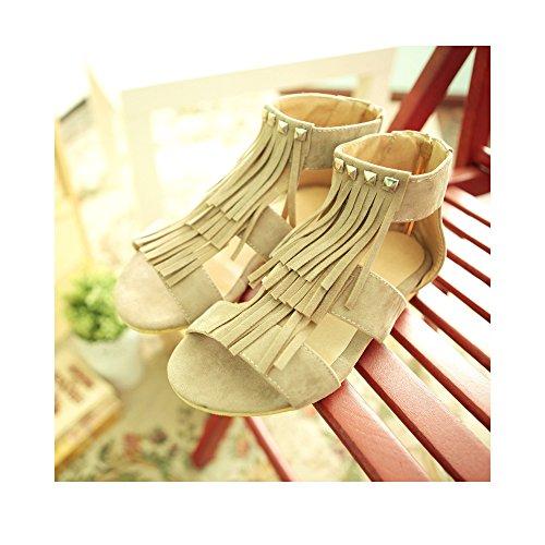 Damen Sandalen Rund Flach Peep-Toe Reißverschluss Nieten Quaste Freizeitschuhe Beige