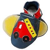 PantOUF Scarpine Comfort+ Prima Infanzia Bambini in Morbida Pelle -Suole Antiscivolo in Suede e Gomma - Blu con l'auto del Pompiere