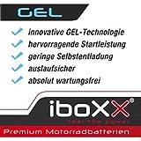 Iboxx Motorrad Gel Batterie / Gelbatterie YB5L-B, 12 Volt, 5 Ah für Simson SR 50/1 50 CE E-Start, Bj. 1993