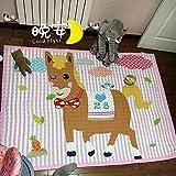 Mengjie Baby-Krabbeldecke für Vier Jahreszeiten Zeichentuch 15MM für Wohnzimmer, Schlafzimmmer, Kinderzimmer, Esszimmer,Rosa Pony,145 * 195cm
