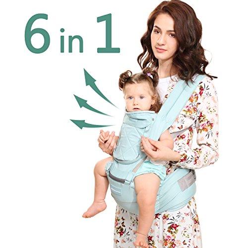 Windsleeping Toddler Baby Carrier con cappuccio per tutte le stagioni, 6-in-1 ways to carry, hip Seat Carrier anteriore e posteriore, in silicone antiscivolo superficie seduta - blu