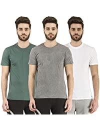 Nitlon Solid Men's 100% Cotton T-Shirt (Pack of 3)