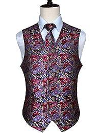 Hisdern Classico da uomo Paisley Floral Jacquard Gilet cravatta e  fazzoletto da taschino 99521de326a