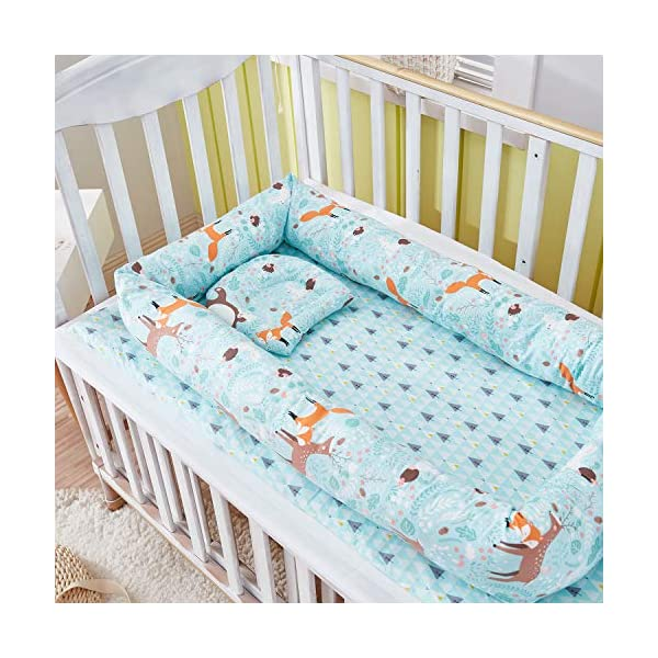 TEALP Multifunctional Baby Nest Blue Bear Fox, Baby Bassinet for Bed/Lounger/Nest/Pod/Cot Bed/Sleeping, Breathable & Hypoallergenic Cotton (0-24 Months) TEALP 【Breathable and Hypoallergenic Cotton】hypoallergenic materials, breathable and non-toxic. We use 100-percent cotton fabric and breathable, hypoallergenic internal filler, which is safe for baby's sensitive skin. It will give your child serene, safe, and sound sleep in their lovely co sleeping crib. 【Adjustable Design】1 baby nest, 90x55x15cm;1 pillow30x30cm, Suitable for 0-24 Month. GROWS WITH YOUR BABY. Being adjustable, the side sleeper grows with your baby. Simply loosen the cord at the end of the bumpers to make the size larger. The ends of the bumpers can be fully opened. 【Multifunctional and Portable】 Use the infant nest as a bassinet for a bed, baby lounger pillow, travel bed, newborn pillow, changing station or move it around the house for lounging or tummy time, making baby feel more secure and cozy. 4