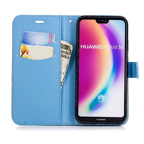 Coque Huawei P20 Lite,Etui Huawei P20 Lite,Surakey Huawei P20 Lite Cuir PU Housse à Rabat Portefeuille Étui Flip Case Folio à Clapet Stand de Fermeture magnétique, Noir+Bleu Clair
