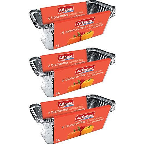 ALFAPAC - 6 barquettes aluminium 1L Profondes avec couvercle - Lot de 3