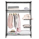 LANGRIA Garderobenschrank Metall Kleiderschrank Kleider Regal mit Abdeckung Faltschrank 121x46x175cm