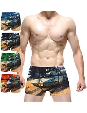 4 Pacchetti Uomo Pantaloncini Boxer Cotone Moda Colorato Carro Armato Stampa Confortevole Traspirante Biancheria...