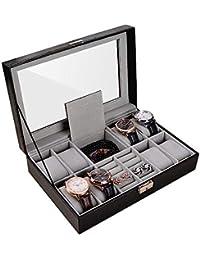 OTraki Caja para Relojes PU de Piel Sint¨¦tica de 8 Compartimentos con Cojines Extra¨ªbles Bandeja Organizador de Joyer¨ªa de Vidrio Superior para Cajas de almacenaje para Relojes