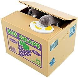 Peradix Juguete Robar Dinero Hucha con Sonido Gato Gris Coger Moneda del Tablero Divertido Juguete de los Niños Regalo Original y Fantástico